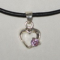 Silver Pink Heart Necklace